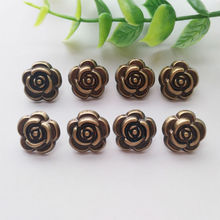 30pcs/lot Rose Flower Buttons Sewing-On One-Hole Metal For Clothes Bag Fashion Craft DIY Decoration Beautiful 15mm