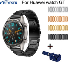 купить 22mm Stainless Steel Watch Band For Huawei watch GT watch strap For Samsung Gear S3 smart watch Link bracelet with Adjust Tool дешево