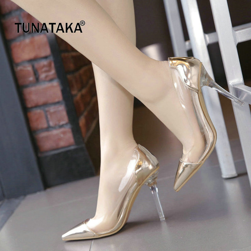 Transparent Sexy Thin High Heel Pointed Toe Woman Pumps Fashion Slip On Party Lazy High Heel Shoes Womna Gold Silver Pink women pumps big size shoes gold crystal bling mesh transparent high thin heels pointed toe fashion party sexy slip on shallow