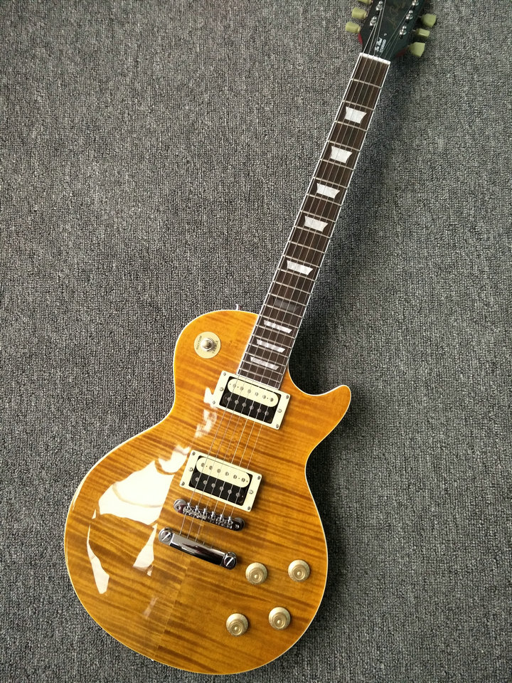 New Arrival! Custom shop gloss yellow LP electric guitar with AAAA grade Maple Country lp guitar top LP guitar