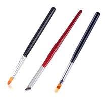 3Pcs Gradient Nail Brush Set Wood Black Red Handle Angled Nail Brush Tool Professional Gel Acrylic Nail Art Brush Kit