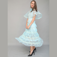 Wholesale & Retail 2018 Summer New Light Blue Lace Dress Fairy Perspective Women Lace Dress Free Shipping