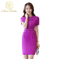 2017 Mini Women Business Dress Women S Short Sleeve S 4XL Dresses OL Office Work Black
