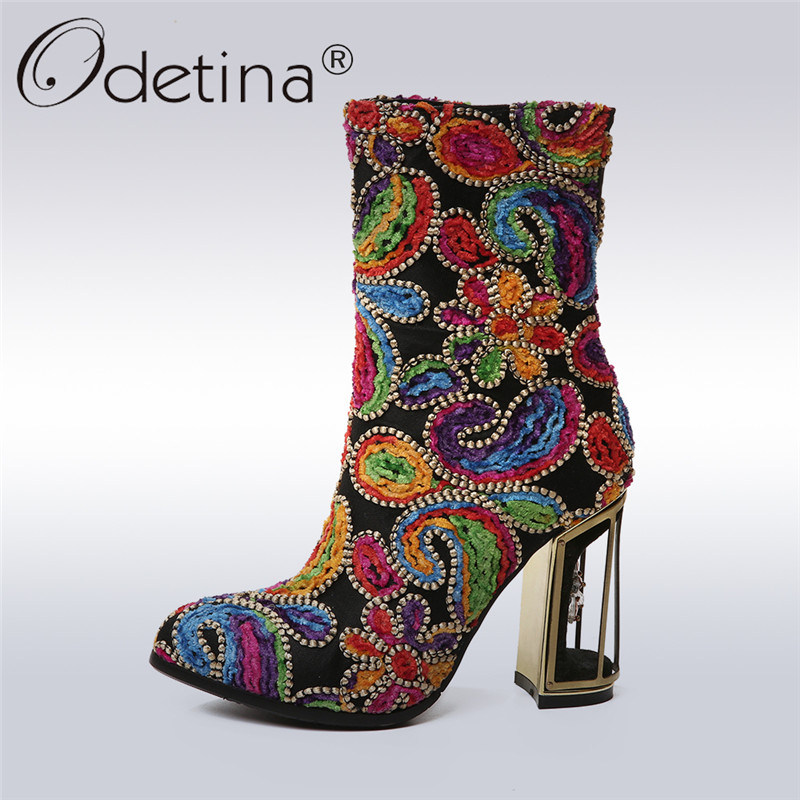 Odetina 2017 New Fashion Genuine Leather Floral Embroidery Boots Women Fretwork Heels Zipper Ankle Boots High Heels Big Size 43 new fashion diamond embroidery genuine