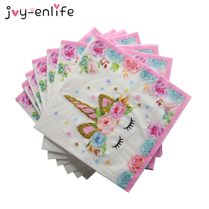 20pcs Unicorn Napkin Paper Disposable Tableware Wedding Decoration Kids Girl Boys Birthday Party Decoration Baby Shower Supplies