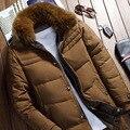 Verdadeira Raposa Gola De Pele Para Baixo Casaco Jaqueta de Inverno dos homens Com Capuz Quente Parka Casacos Winterjacken