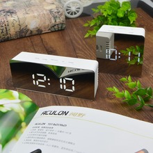 Table Desk Clock Mirror light LED Digital Electronic Wake up Snooze Alarm Wall home Decoration lamp Battery Powered