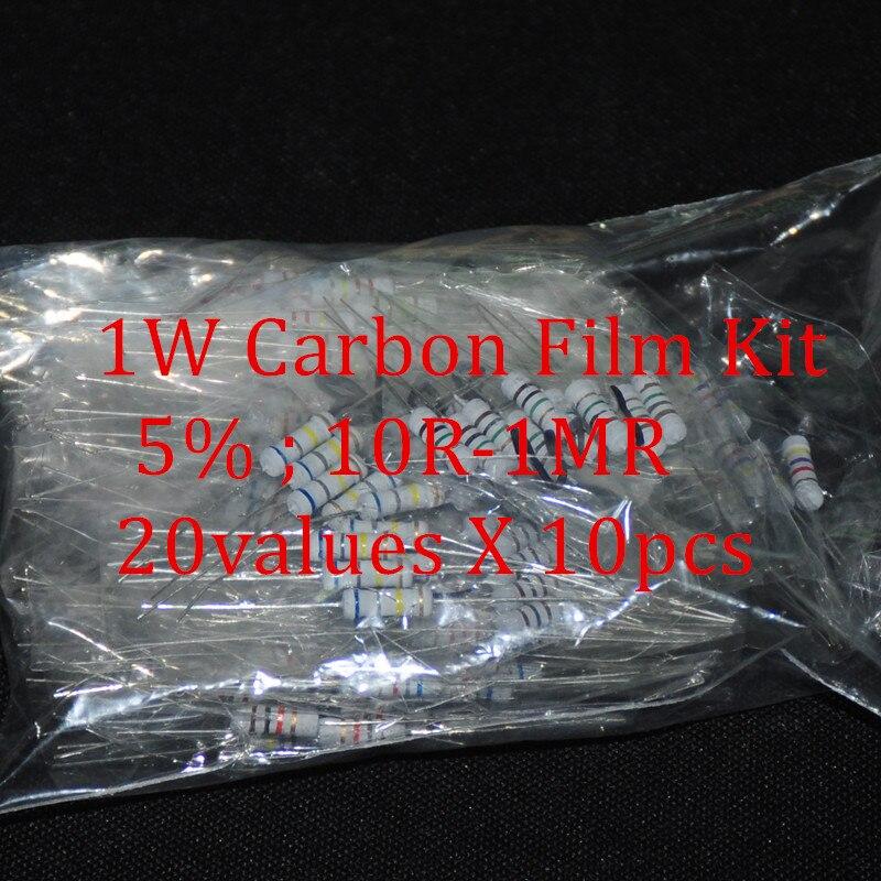 200pcs Resistor Kit 1W Watt 20values X 10pcs Resistencias Resistor Pack Carbon Film Resistance 10-1MOhm OHMs 1-W Carbon Film Set
