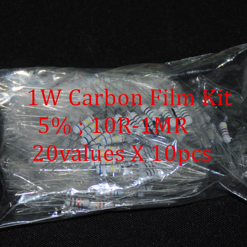200pcs <font><b>Resistor</b></font> Kit 1W Watt 20values X 10pcs Resistencias <font><b>Resistor</b></font> Pack Carbon Film Resistance 10-<font><b>1MOhm</b></font> OHMs 1-W Carbon Film Set image