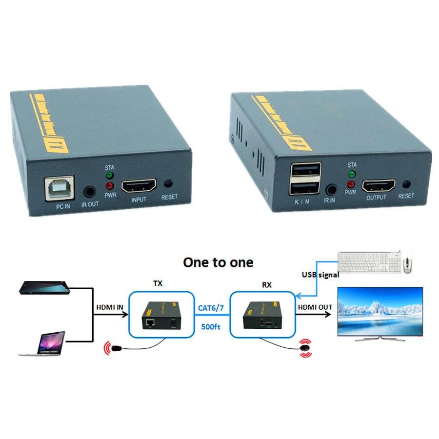 IP Réseau 1080 p USB HDMI KVM IR Extender 500ft Sur TCP IP USB Clavier Souris KVM Extender 150 m via Ethernet RJ45 Cat6/7 Câble