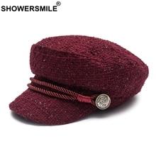 SHOWERSMILE Women Newsboy Caps Hat Burgundy Flat Female Casual Captain Hats Ladies Designer Autumn Baker Boy Black
