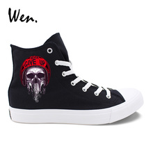 цена Wen Original Casual Shoes Design Zombie Skull Series Pattern Black White Canvas Women Men Sneakers High Top Laced Plimsolls
