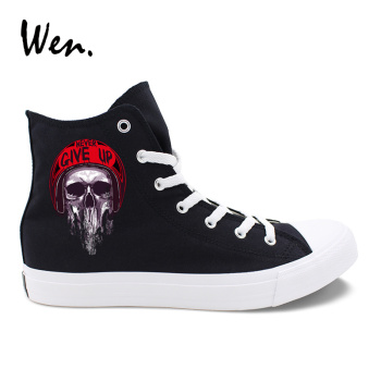 Wen Original Casual Shoes Design Zombie Skull Series Pattern Black White Canvas Women Men Sneakers High Top Laced Plimsolls
