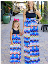 Eafreloy 2017 New Fashion Family Matching Outfits Mother And Daughter Dress Abstract Family Fitted Mommy And Me Clothes