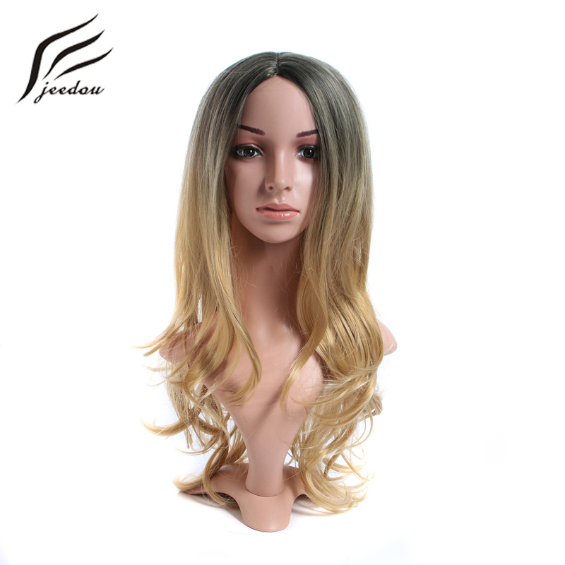 jeedou Long Wavy Hair Wigs For Women Synthetic Wig 240g 65cm Natural Black Blond Ombre Color Office Lady Party Dress Up ...