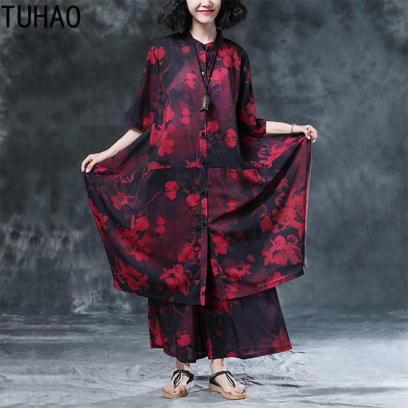 TUHAO Loose Plus Size Long Women Set 2018 Women s Office Lady Style Floral vintage  Clothing Two 3df550fc9