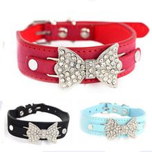 Adjustable PU Leather Pet Dog Collar WIth Multi Color Selections Fashion Crystal Bow Tie Pet Supplies