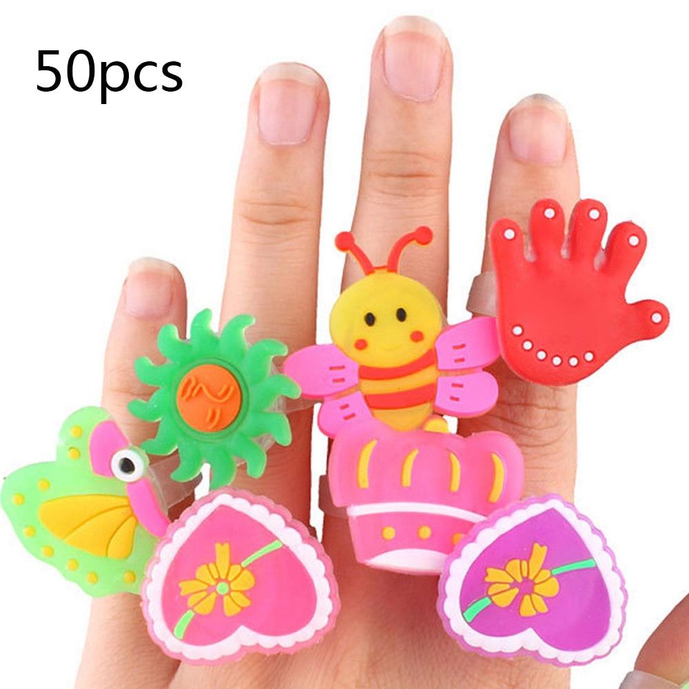 50pcs Set Kids Cartoon Led Flashing Light Up Glowing Finger Rings Electronic Christmas