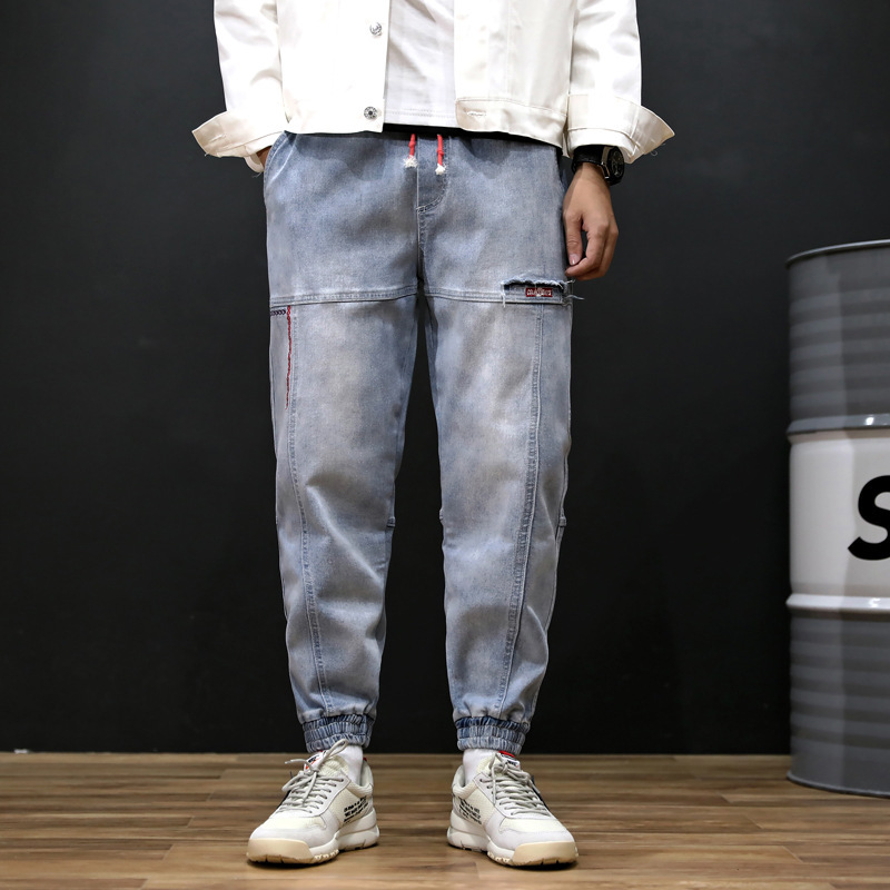 HAYBLST 2019 summer new fashion casual ins men's   jeans   harem pants gothic ankle-length male denim trousers loose plus size S-7XL