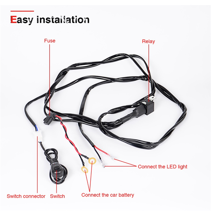 2 meters 12v 40a led driving lamp 7ft extention wire relay led work light  bar wiring loom harness kit load max 300 watt-in light bar/work light from