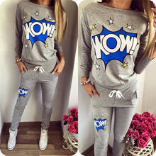 2016 New O-neck Letter Cartoon Print Suits For  Women Sport Suit Brand Tracksuit Costomes Hoodies Set  Gray