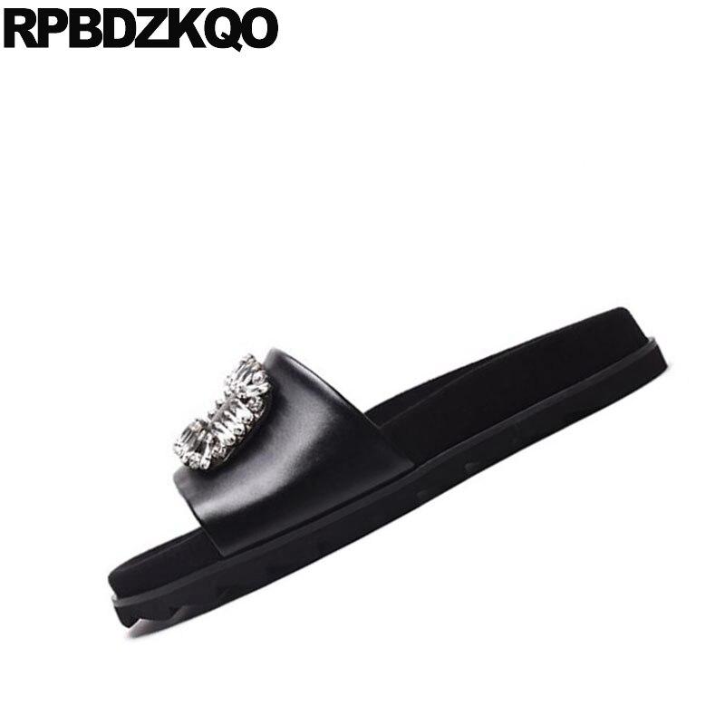 Talle 2017 Lujo Joya Grande Diamante Zapatos Plano Sandalias Imitación Blanco black blanco Lace Ponerse Negro Planos Suave Negro Diapositivas Cristal De Mujeres Verano Diseñador Cordón qC8a70