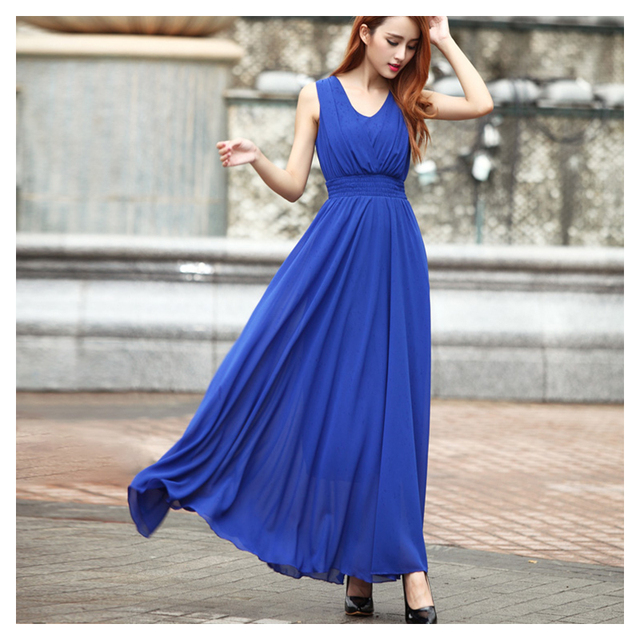 81dc3206595 2016 New Spring Summer style Chiffon dress women long dresses sleeveless V- neck Solid color