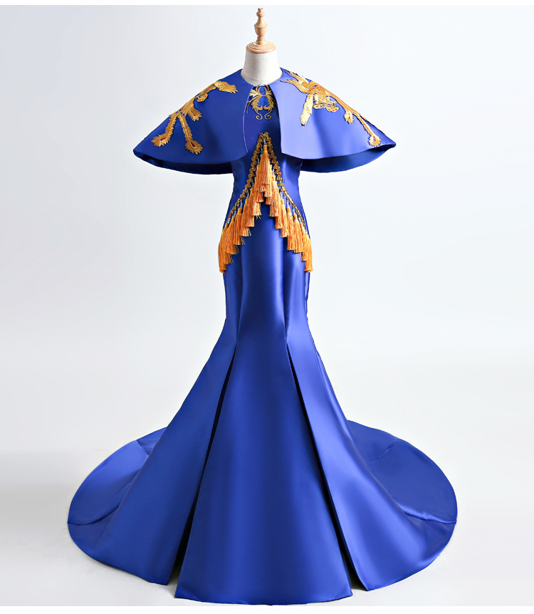 100%real masquerade royal blue peacock embroidery pattern traditional cosplay court drama long dress stage/stuido Gown queen