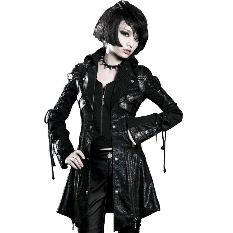 Панк рейв для женщин Готический Винтаж красивый кожаный длинная куртка пальто для будущих мам тяжелый панк резиновая рукавом Уличная мода
