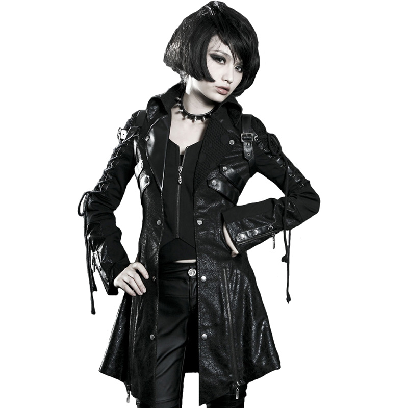 PUNK RAVE Women Gothic Vintage Handsome Leather Long Jacket Coats Heavy Punk Rubber Sleeve Streetwear Fashion Windbreakers