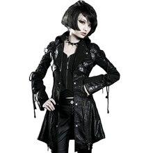 PUNK RAVE Women Gothic Vintage Handsome Leather Long Jacket Coats