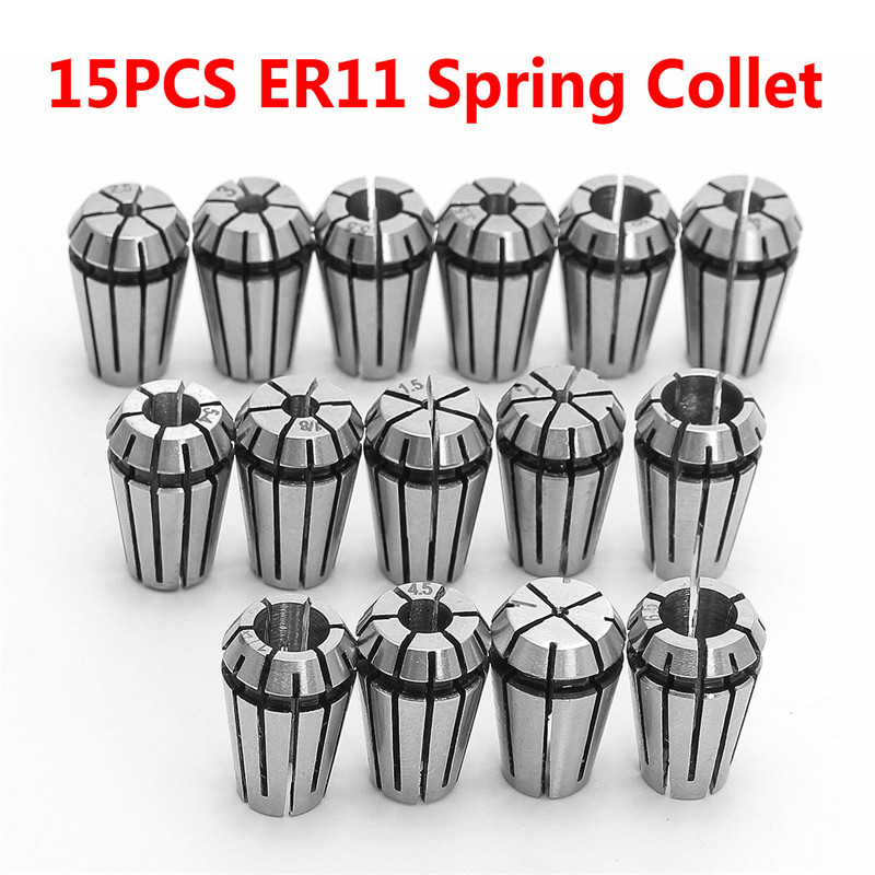 15PCS ER11 Spring Collet Set for CNC Engraving Machine & Milling Lathe Tool Tool Holder Freeshipping 1pc er11 3mm 1 8 inch 3 175mm 4mm 6mm 1mm 2mm 2 5mm spring collet chucks tool holder for cnc engraving machine