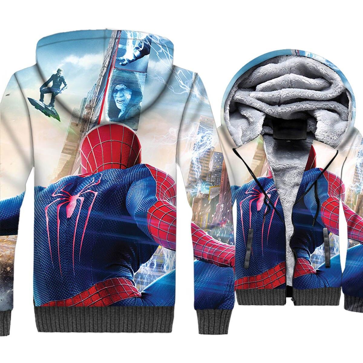 Spider Man Jacket Men Super Hero Hoodie Crossfit Hooded Sweatshirt Mens New Winter Thick Fleece Warm 3D Print Coat Plus Size 5XL