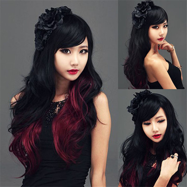 Favoritos Preto longo vermelho peruca cosplay Moda Lolita Mulheres  GS98