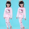 Retail Cartoon Printed Teenage Girls Pajamas Spring Fall 2016 New Long Sleeve Pyjamas Kids Sleepwear Set for Teens