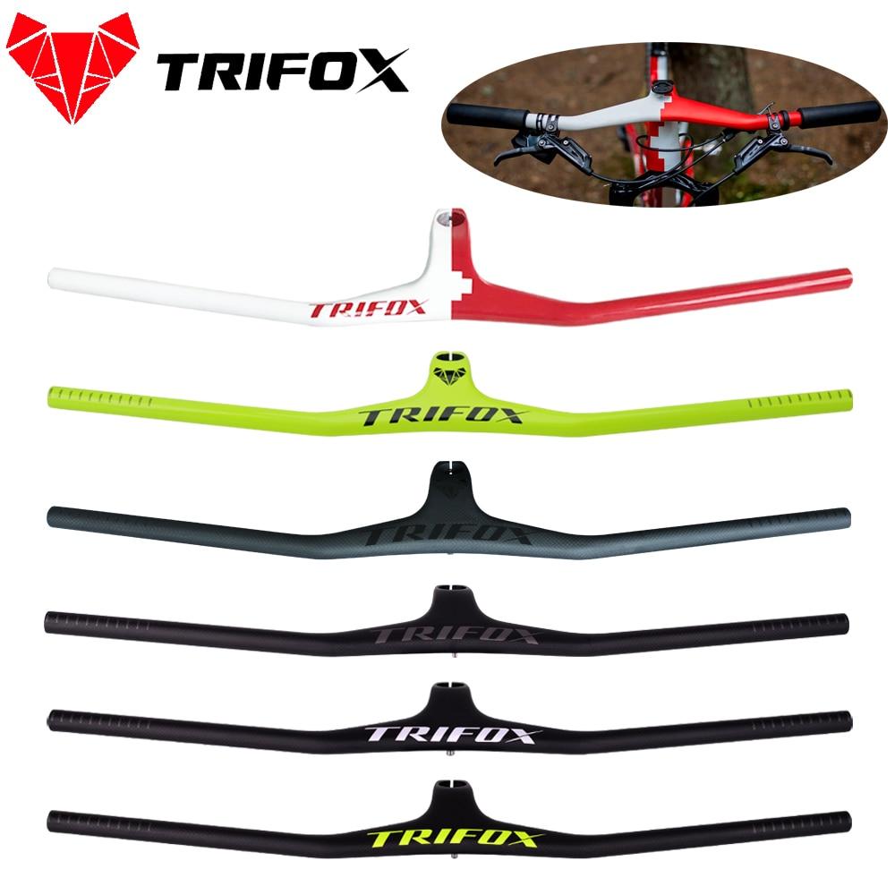 TRIFOX Manillar MTB велосипедный Riser -17 градусов, одноформный Интегрированный руль со штоком, 3K матовый/глянцевый карбоновый руль MTB