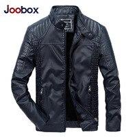 JOOBOX 2017 PU Leather Jacket Men Black Red Brown Solid Mens Faux Fur Coats Trend Slim