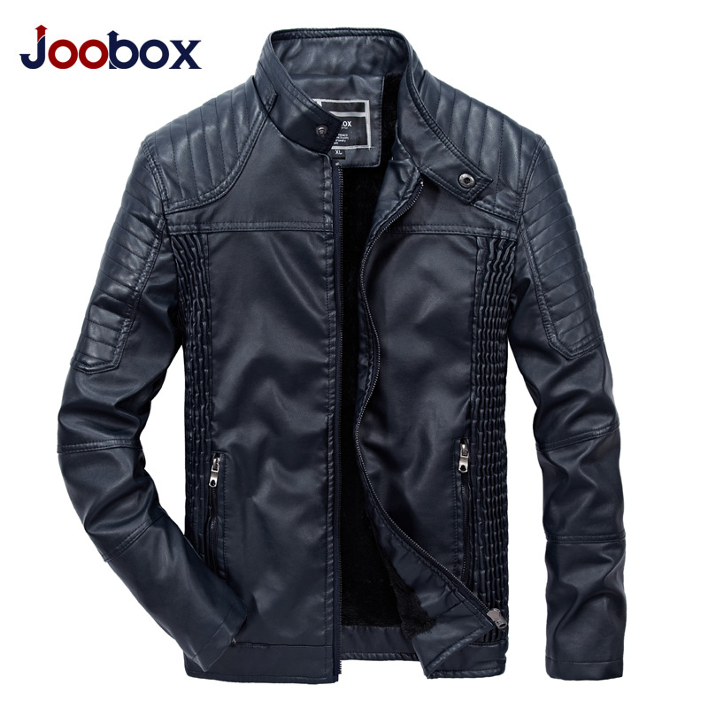 JOOBOX 2018 New Men Leather Jacket Spring Autumn Fashion High Quality PU Casual Biker Jacket Male Outerwear & Coats XL 2XL 3XL