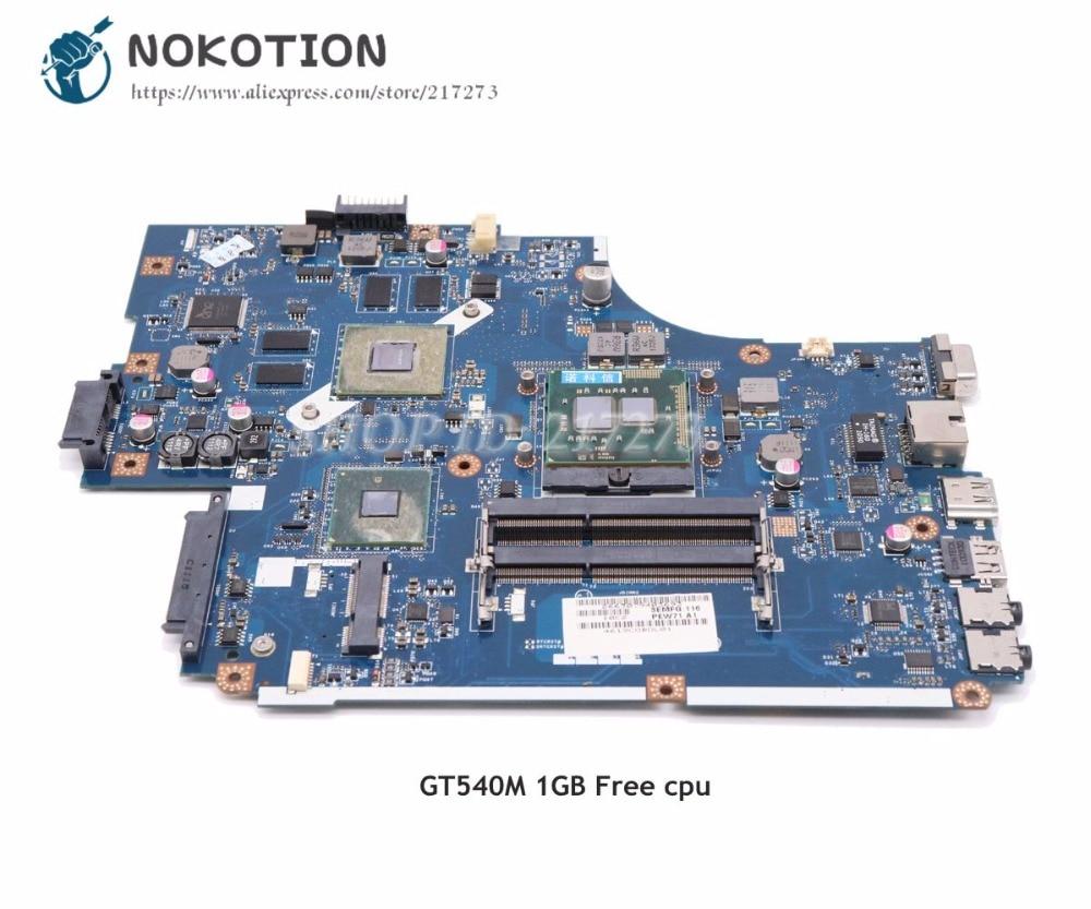 NOKOTION For Acer aspire 5742 5742G Laptop Motherboard MBRB902001 PEW71 LA-5894P Main Board HM55 DDR3 GT540M 1GB nokotion for acer aspire 5742 5733 5742z 5733z laptop motherboard mbrjy02002 pew71 la 6582p hm55 uma ddr3