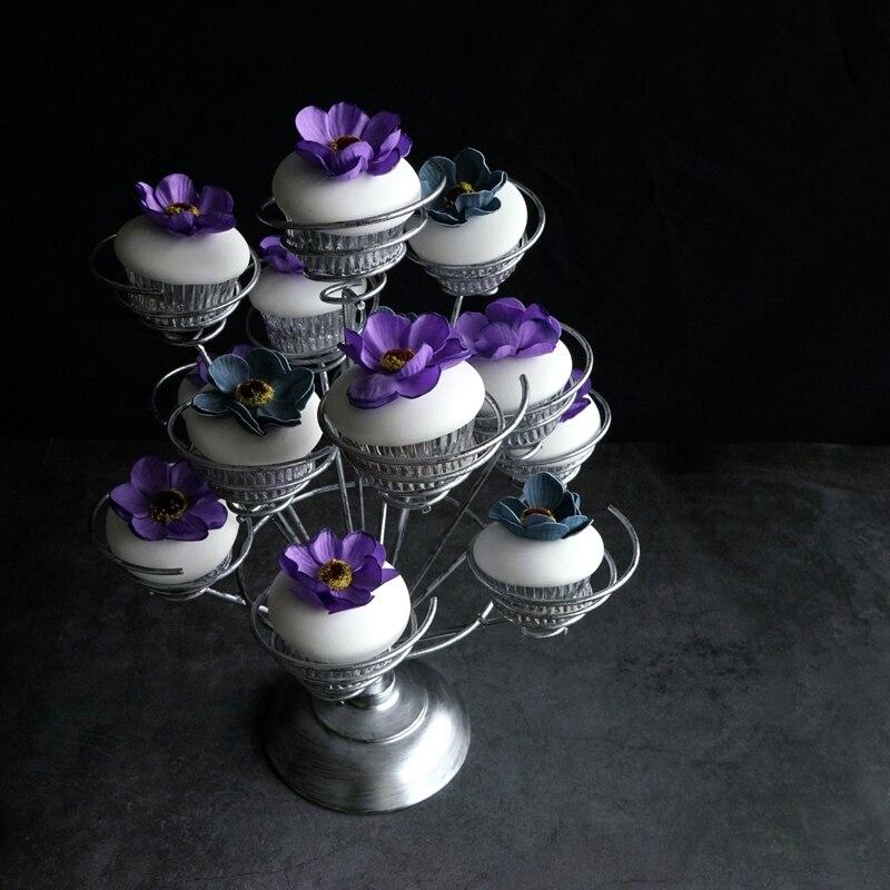 Sweet go Cupcake support 13 têtes pour fête de mariage gâteau décoration outils Table décoration fête ustensiles de cuisson fleur argent - 3