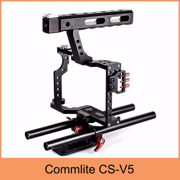 Commlite CS-V5 DSLR Rod Rig Camera Video Cage Kit & Handle Grip for Sony a6300 A7 II A7r A7s Olympus Pentax Cameras+cage