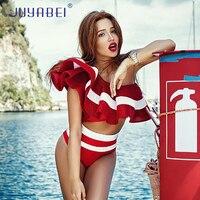 JUYABEI Une Épaule Ruches Maillots De Bain Sexy Bikinis 2018 Mujer Deux Pièces Maillot de Bain Femmes Rouge Noir Blanc Solide Fitness Vêtements De Plage