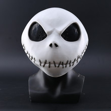 New The Nightmare Before Christmas Jack Skellington White Latex Mask Movie Cosplay Props Halloween Party Mischievous Horror Mask