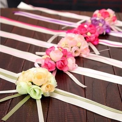 Hand Wrist Flower Pink Corsage Flowers Bracelet  Bridesmaid Silk Bracelets  Accessories Wedding Hands Prom Bridemaids Accessoirs