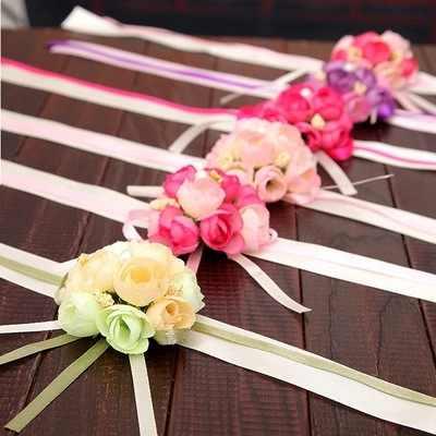 Tangan Pergelangan Tangan Bunga Merah Muda Korsase Bunga Gelang Bridesmaid Sutra Gelang Aksesoris Pernikahan Tangan Prom Pengiring Pengantin Accessoirs