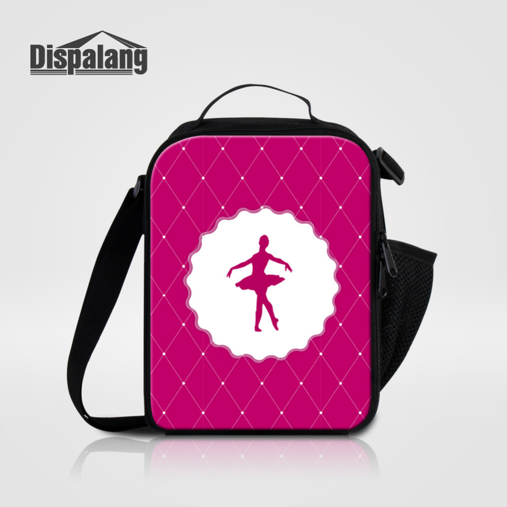 Dispalang Ballet Printing Lunch Bags Spring Tour Portable Insulated Picnic Food Bags For Girls Children Kids Thermal Cooler Bags