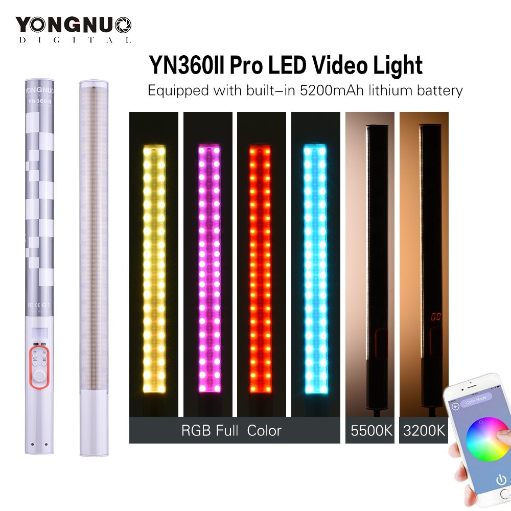 Yongnuo YN360II Handheld Pixel ICE Stick LED Video Light 3200K-5500K Video Light RGB Colorful Controlled by Phone App yongnuo yn360ii yn360 ii led video light handheld ice stick photo lamp bicolor 3200k 5500k with rgb controlled by phone app