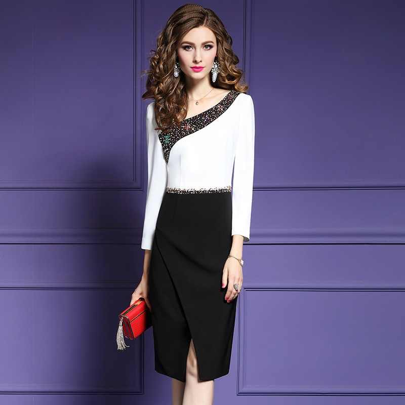 Detail Feedback Questions about Fashion office ladies Pencil sexy dress  Runway 2018 new spring autumn Women Clothing V Neck patchwork beading dress  Plus ... b4d52771d349