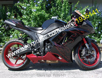 For Kawasaki Ninja ZX-6R 07 08 ZX 6R ZX636 2007 2008 ZX 636 ZX6R Red Flame Motorbike Fairing Kit (Injection molding)