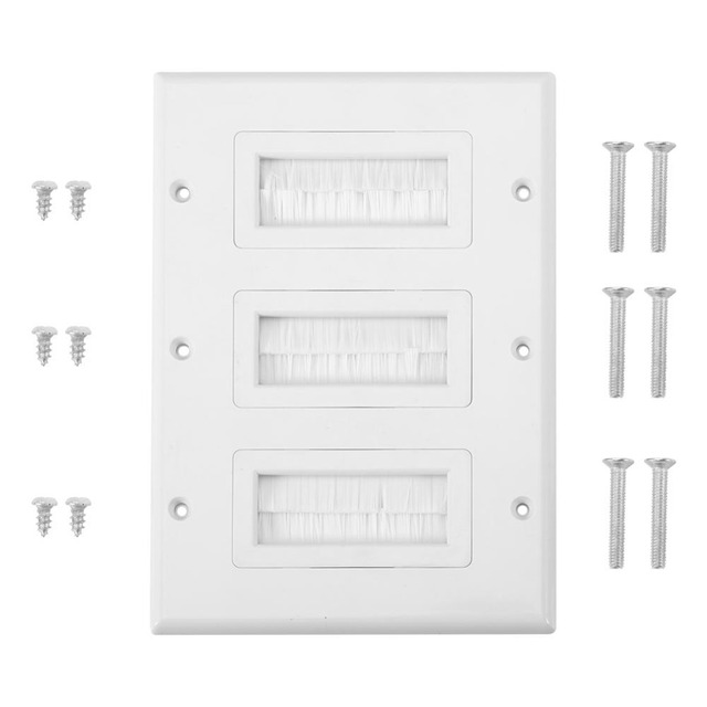 Brush Wall Plate Plastic Anti-dust Brush Cable Wall Plate Port Insert Cover Outlet Mount Multimedia Panel Single two Ports White